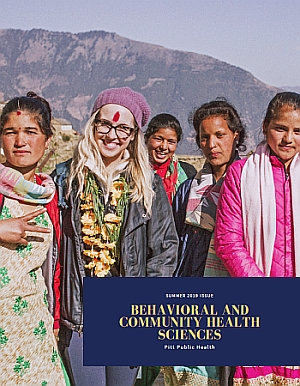 alum Sara Baumann on site with Nepalese women