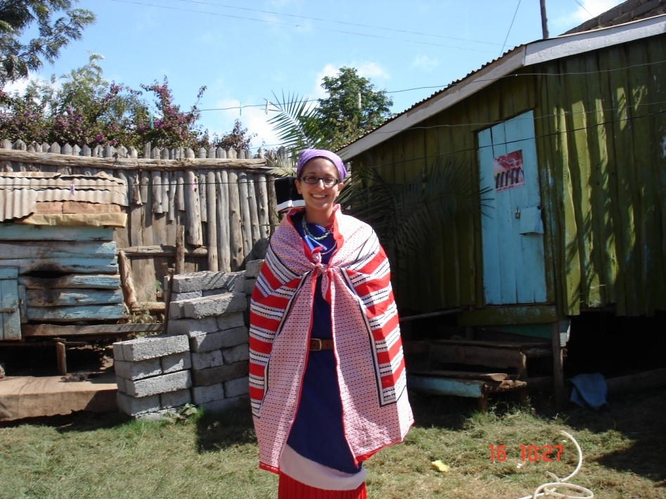 Dressed as a Maasai lady