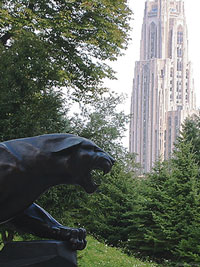 Pitt pather statue and the Cathedral of Learning