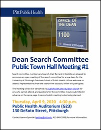 Dean Search Town Hall flyer